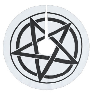 Pentagram Symbol - Five-Pointed Star Brushed Polyester Tree Skirt