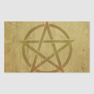Pentagram Textured Rectangular Sticker
