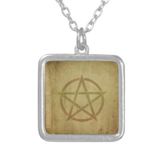 Pentagram Textured Silver Plated Necklace