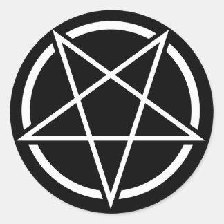 Pentagram (white) No.1 Round Sticker