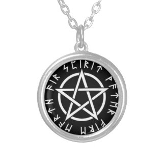 Pentagram with runes silver plated necklace