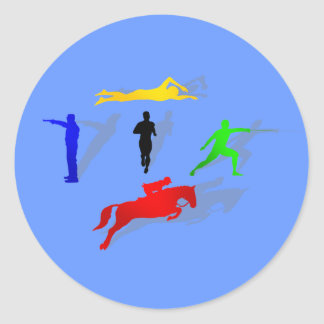 Pentathlon Fencing Shooting Swimming Jumping Run Round Sticker