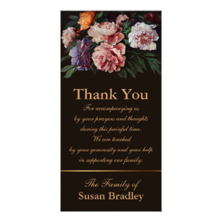 Peonies 1 Sympathy Thank You matching Stamp Photo Card Template