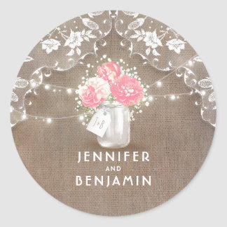 Peonies and Baby's Breath Mason Jar Rustic Lace Classic Round Sticker