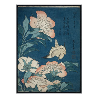 Peonies and Canary by Katsushika Hokusai 1834 Poster