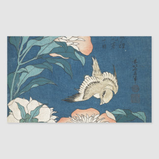 Peonies and Canary Rectangular Sticker