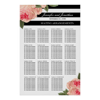 Peonies and Stripes Seating Arrangement Poster