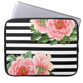peonies black stripes laptop sleeve