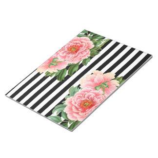 peonies black stripes notepad