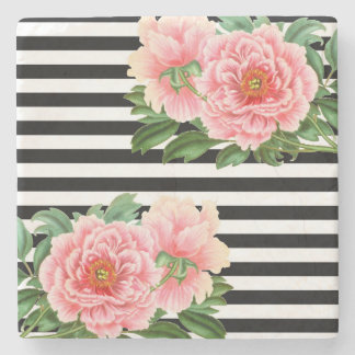 peonies black stripes stone coaster