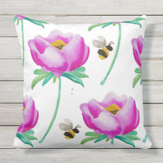 Peonies & Bumble Bees Outdoor Cushion