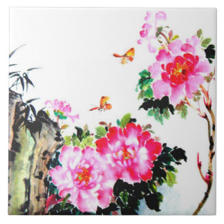 Peonies & Butterflies Chinese Watercolor Painting Ceramic Tile