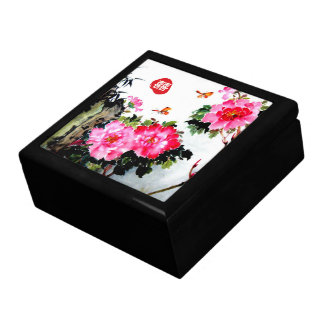 Peonies&Butterflies/Double Happiness Wedding Gift Large Square Gift Box