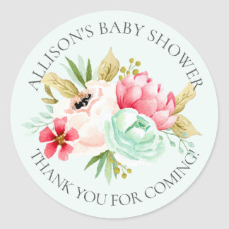 Peonies Floral Baby Thank You Shower Sticker