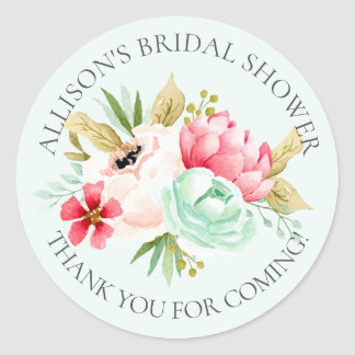 Peonies Floral Bridal Thank You Shower Sticker