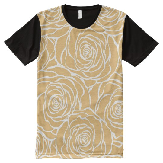 Peonies,floral,white,yellow,pattern,girly,modern,b All-Over Print T-Shirt
