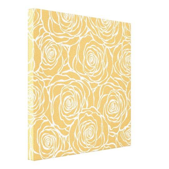 Peonies,floral,white,yellow,pattern,girly,modern,b Canvas Print