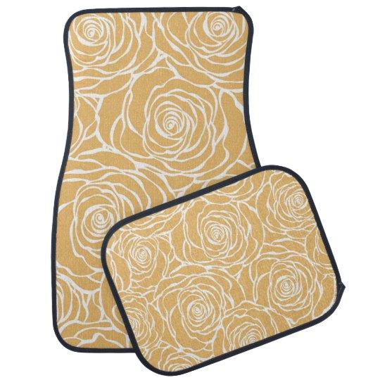 Peonies,floral,white,yellow,pattern,girly,modern,b Car Mat