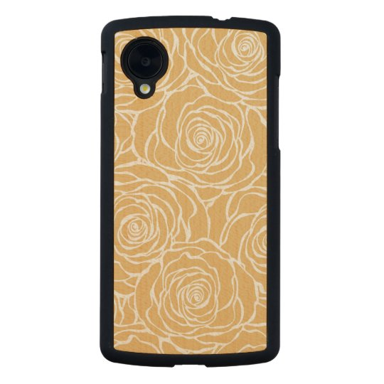 Peonies,floral,white,yellow,pattern,girly,modern,b Carved Maple Nexus 5 Case
