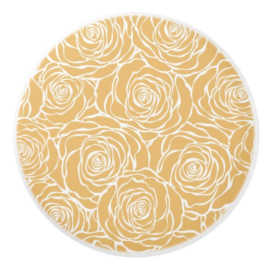 Peonies,floral,white,yellow,pattern,girly,modern,b Ceramic Knob