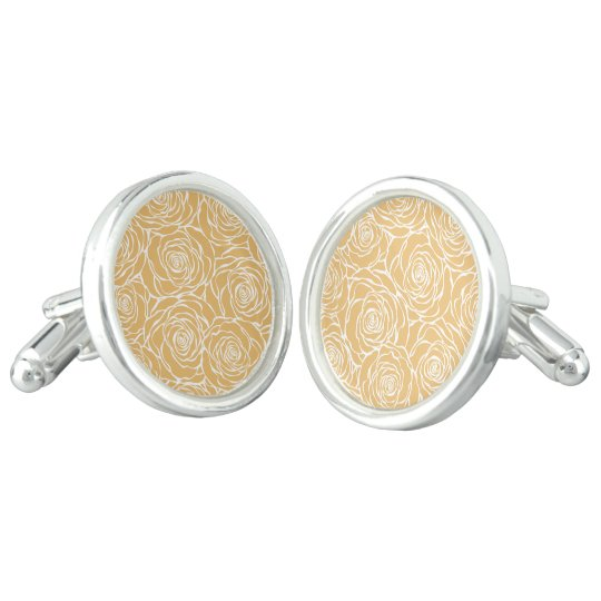 Peonies,floral,white,yellow,pattern,girly,modern,b Cufflinks