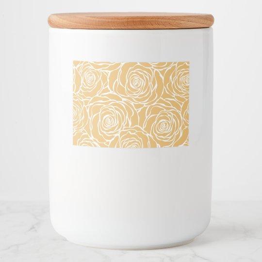 Peonies,floral,white,yellow,pattern,girly,modern,b Food Label