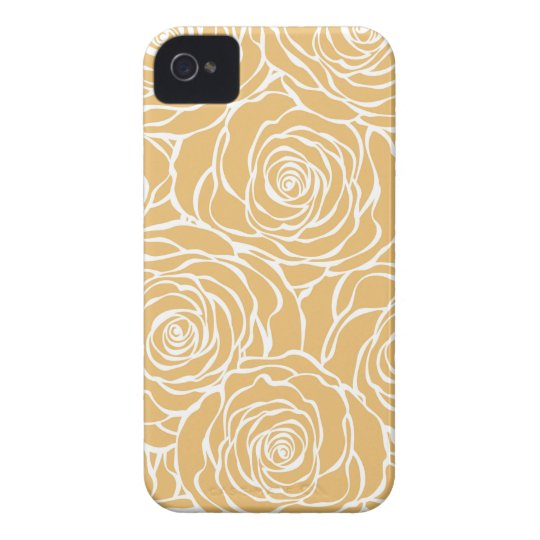 Peonies,floral,white,yellow,pattern,girly,modern,b iPhone 4 Case-Mate Case