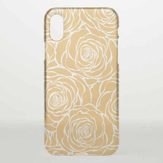 Peonies,floral,white,yellow,pattern,girly,modern,b iPhone X Case