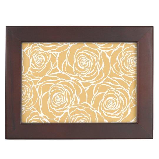 Peonies,floral,white,yellow,pattern,girly,modern,b Keepsake Box