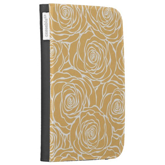 Peonies,floral,white,yellow,pattern,girly,modern,b Kindle Folio Cases