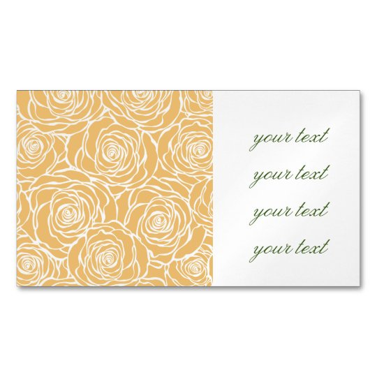 Peonies,floral,white,yellow,pattern,girly,modern,b Magnetic Business Card