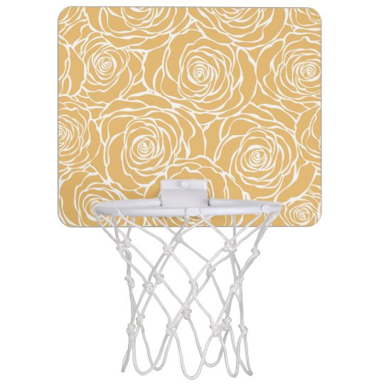 Peonies,floral,white,yellow,pattern,girly,modern,b Mini Basketball Hoop