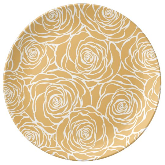Peonies,floral,white,yellow,pattern,girly,modern,b Plate