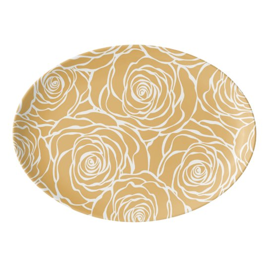 Peonies,floral,white,yellow,pattern,girly,modern,b Porcelain Serving Platter