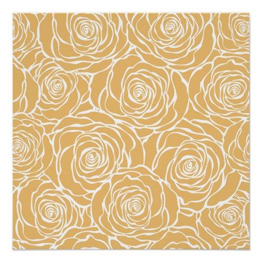 Peonies,floral,white,yellow,pattern,girly,modern,b Poster