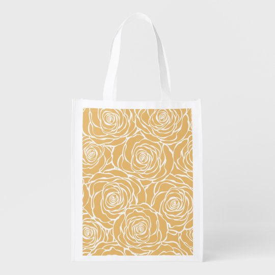 Peonies,floral,white,yellow,pattern,girly,modern,b Reusable Grocery Bag