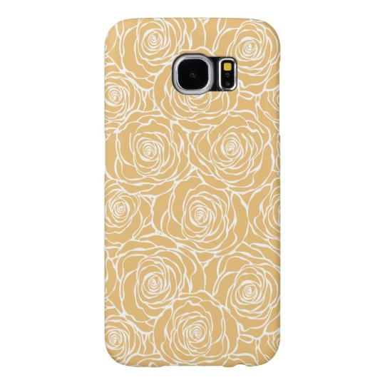 Peonies,floral,white,yellow,pattern,girly,modern,b Samsung Galaxy S6 Cases