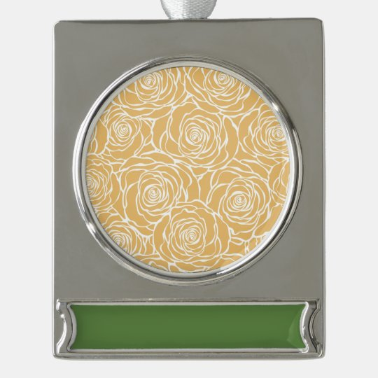 Peonies,floral,white,yellow,pattern,girly,modern,b Silver Plated Banner Ornament