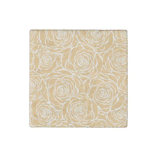 Peonies,floral,white,yellow,pattern,girly,modern,b Stone Magnet