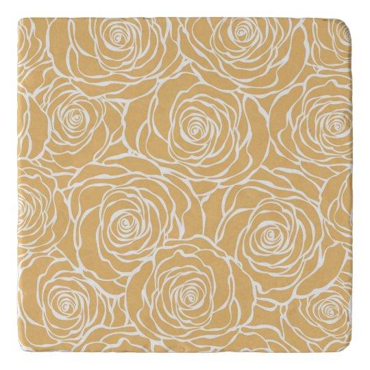 Peonies,floral,white,yellow,pattern,girly,modern,b Trivet