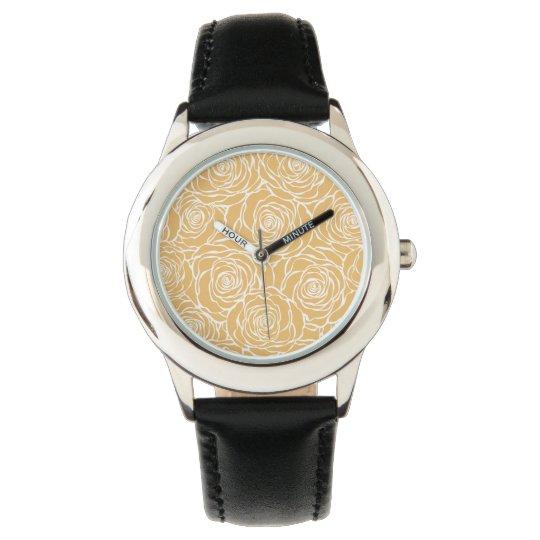 Peonies,floral,white,yellow,pattern,girly,modern,b Watch