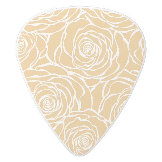 Peonies,floral,white,yellow,pattern,girly,modern,b White Delrin Guitar Pick