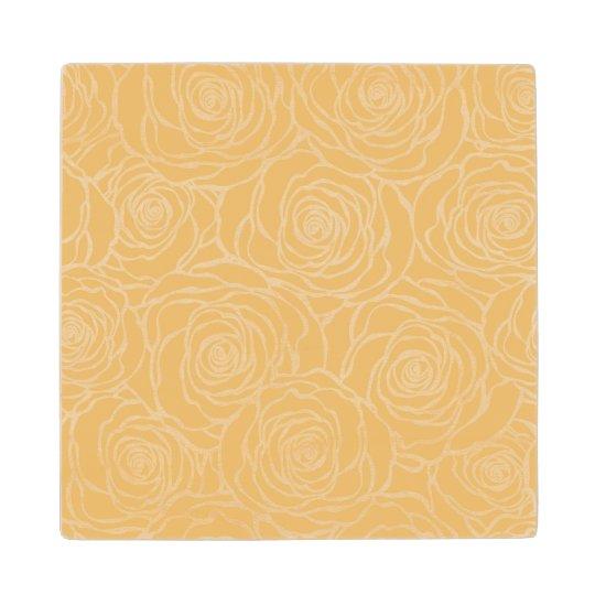 Peonies,floral,white,yellow,pattern,girly,modern,b Wood Coaster