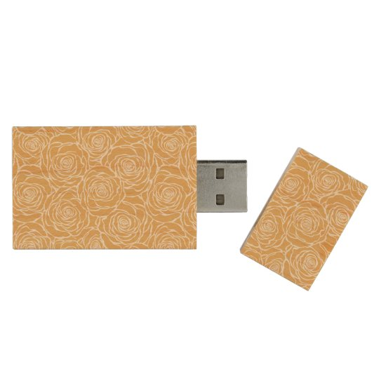 Peonies,floral,white,yellow,pattern,girly,modern,b Wood USB Flash Drive