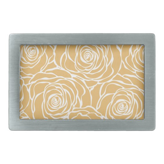 Peonies,floral,white,yellow,pattern,girly,modern Belt Buckles