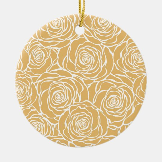 Peonies,floral,white,yellow,pattern,girly,modern Ceramic Ornament