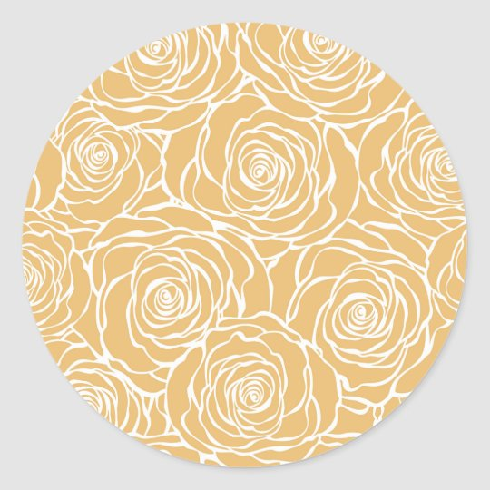 Peonies,floral,white,yellow,pattern,girly,modern Classic Round Sticker