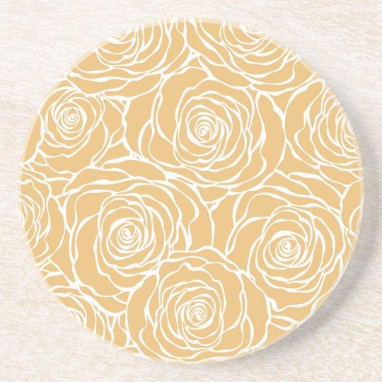 Peonies,floral,white,yellow,pattern,girly,modern Coaster