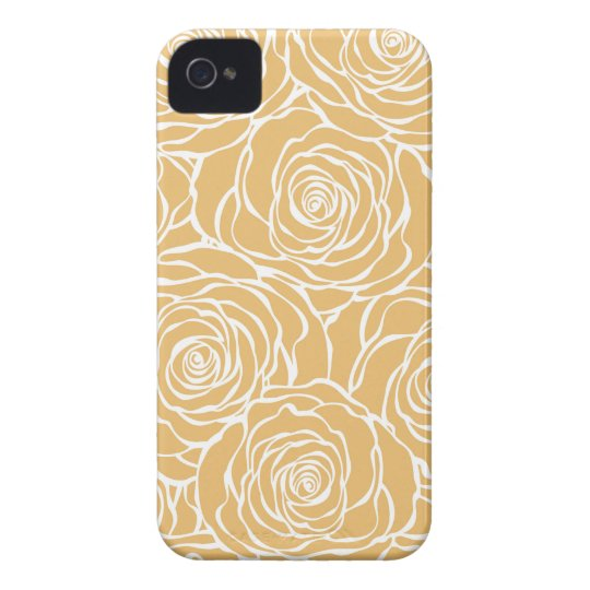 Peonies,floral,white,yellow,pattern,girly,modern iPhone 4 Case-Mate Cases