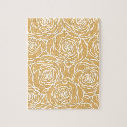 Peonies,floral,white,yellow,pattern,girly,modern Jigsaw Puzzle